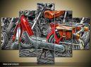 Päťdielna sada moderných obrazov o rozmere 150x105 cm s motívom mototechniky