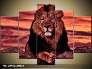 Päťdielna sada moderných obrazov o rozmere 150x100 cm s motívom zvieraťa