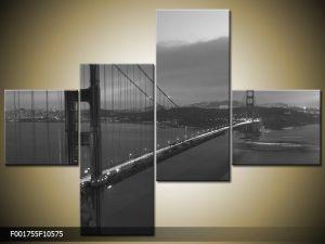 Štvordielna sada moderných obrazov o rozmere 105x75 cm s motívom čiernobieleho mesta