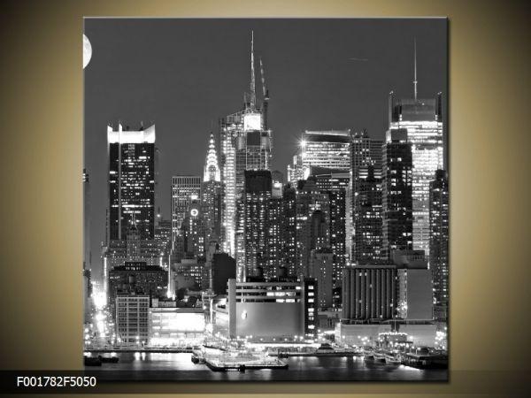Moderný obraz o rozmere 50x50 cm s motívom čiernobieleho mesta