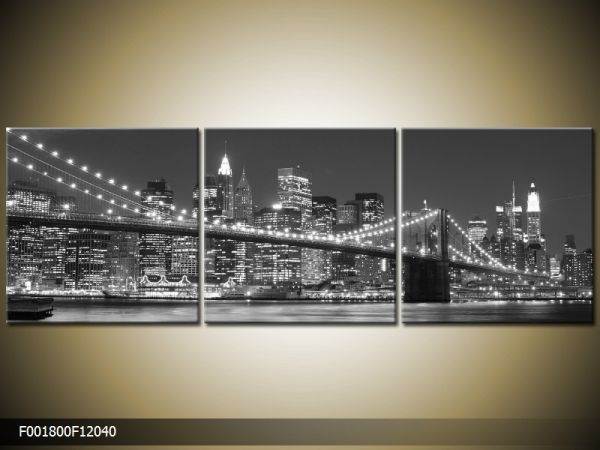 Trojdielna sada moderných obrazov o rozmere 120x40 cm s motívom čiernobieleho mesta